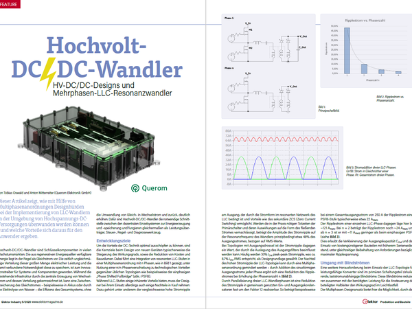 Article by Querom in the Elektor-Industry Magazine with the topic Multiphase resonant converters