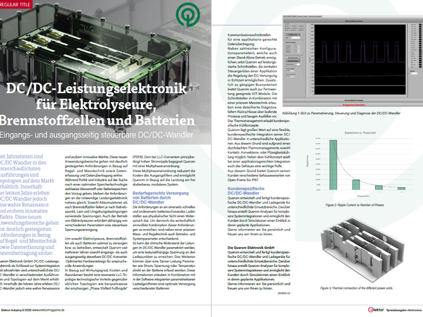 Article by Querom in the elektronica issue of Elektor about DC/DC power electronics